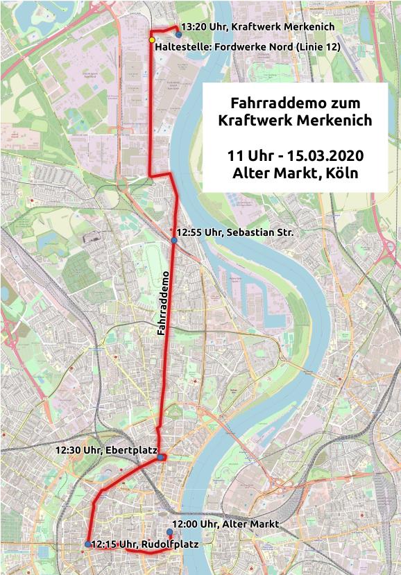 Fahrrademo-Route zum Kraftwerk Merkenich am 15.3.2020