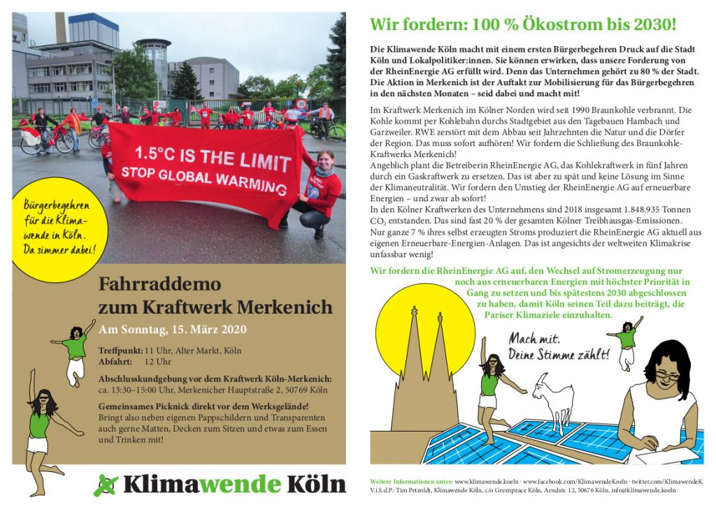 Fahrraddemo zum Kraftwerk Merkenich 15.3.2020