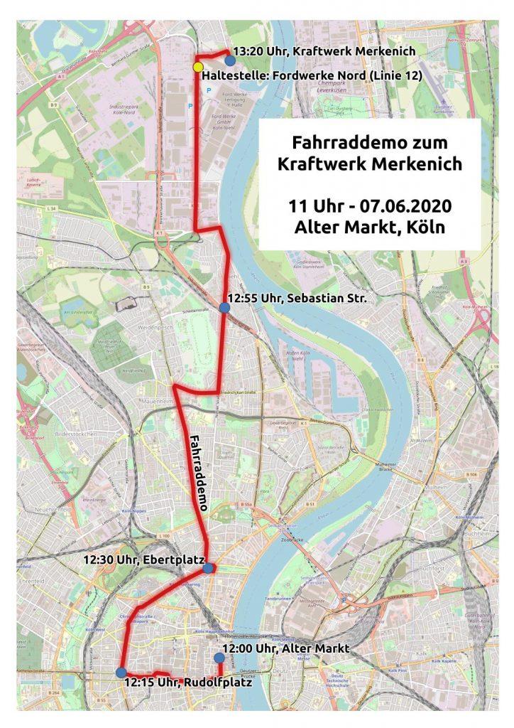 Fahrraddemo zum Kraftwerk Merkenich