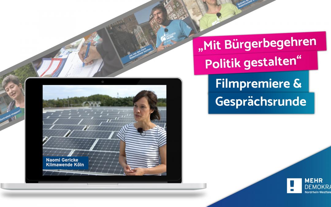 Online-Filmpremiere von MehrDemokratie-NRW
